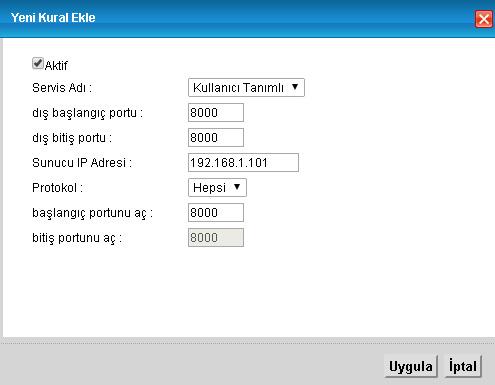 ZyXEL marka modem arayüzü içinde HAIKON portlarını açmak